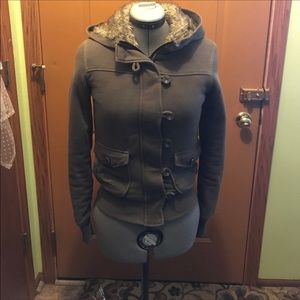 Jackets & Blazers - Faux fur lined hooded sweatshirt